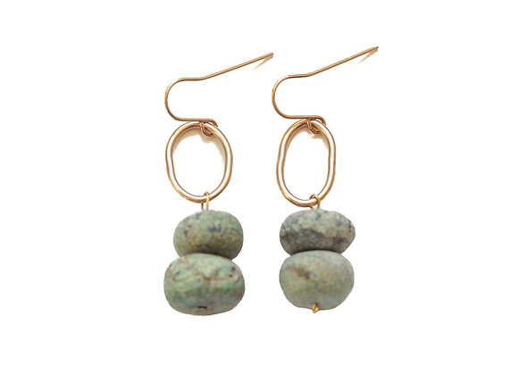 AFRICAN TURQUOISE OVAL EARRINGS