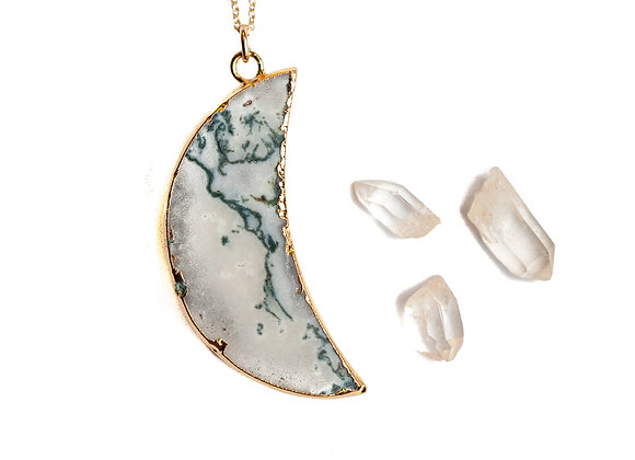 MARBLE AGATE MOON PHASE NECKLACE