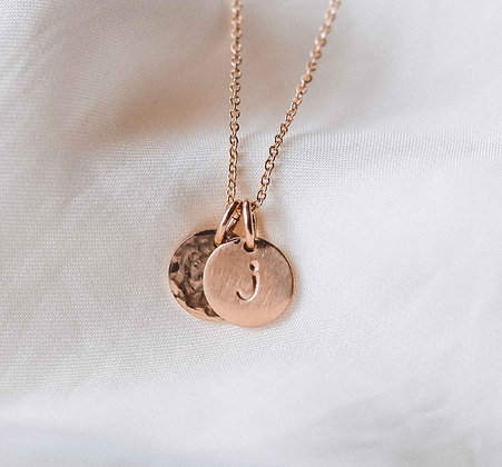 SINGLE INITIAL NECKLACE + HAMMERED COIN