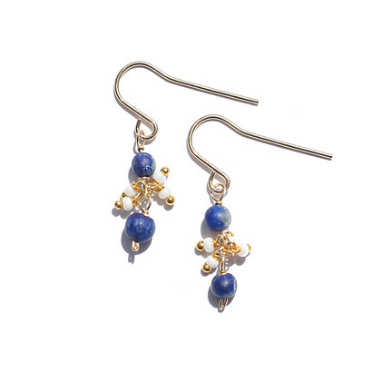 LAPIS AND WHITE CASCADE EARRINGS