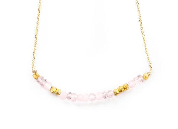 ROSE QUARTZ LOVE MORSE CODE NECKLACE