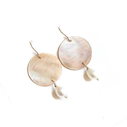 WHITE SHELL + PEARL EARRINGS
