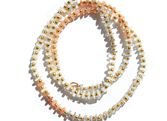 MULTI MOONSTONE+ GOLD LONG NECKLACE