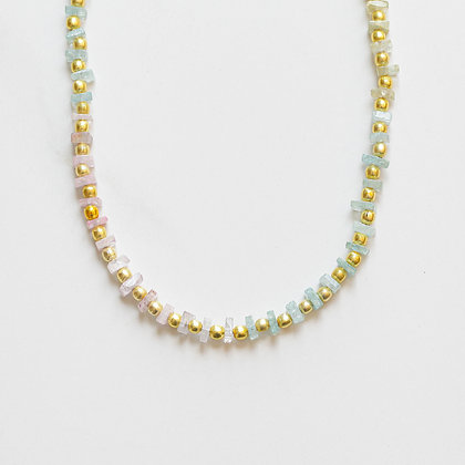 OMBRE AQUAMARINE + GOLD NECKLACE
