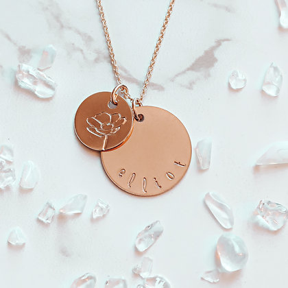 BIRTH FLOWER + NAME NECKLACE