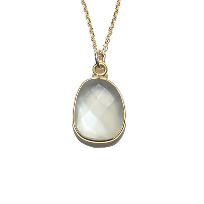 ROSE CUT GREY MOONSTONE NECKLACE-JUNE'S BIRTHSTONE