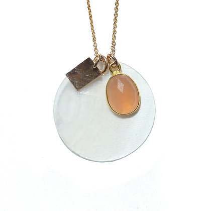 PEACH MOONSTONE SHELL CLUSTER NECKLACE
