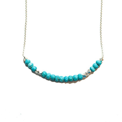 SILVER TURQUOISE MORSE CODE NECKLACE