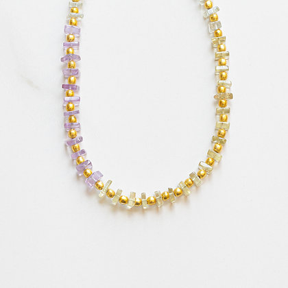 OMBRE + GOLD GEMSTONE NECKLACE