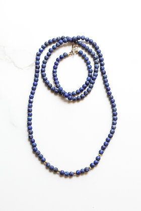 LONG LAPIS& GOLD NECKLACE
