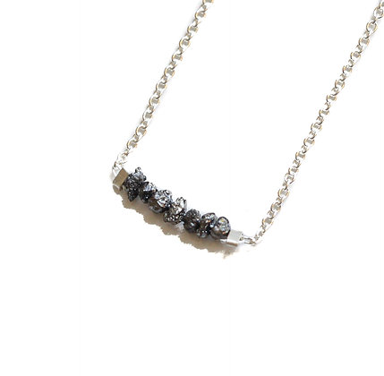SILVER BLACK ROUGH DIAMOND NECKLACE