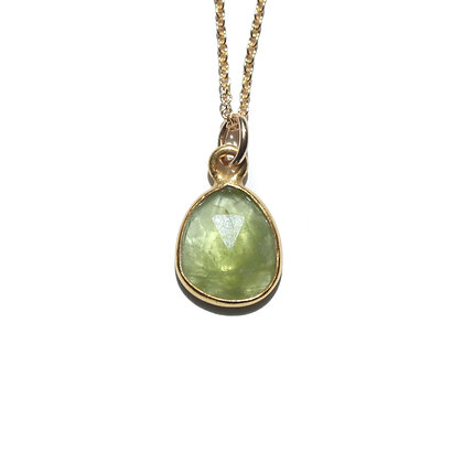 ROSE CUT PERIDOT NECKLACE-AUGUST BIRTHSTONE
