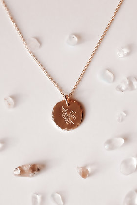 HAMMERED EDGE BIRTH FLOWER COIN NECKLACE-ALL FLOWERS