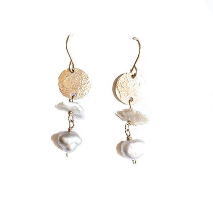 GOLD DISK + PEARLS TIERED GEMSTONE EARRINGS