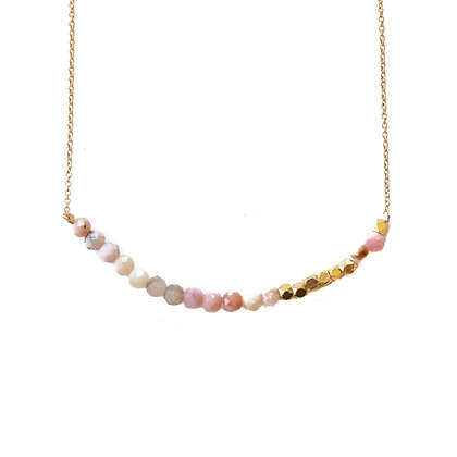 PINK OPAL MORSE CODE NECKLACE