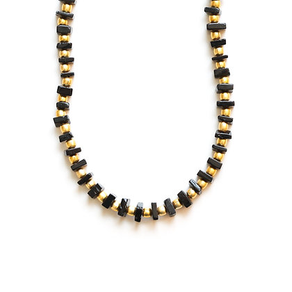 BLACK TOURMALINE + GOLD NECKLACE