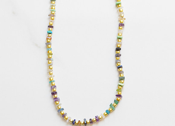 RAINBOW GEMSTONE & GOLD NECKLACE