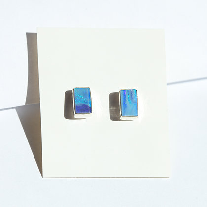 BLUE RECTANGLE OPAL STUDS