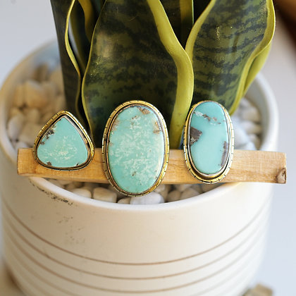 MEXICAN TURQUOISE  LULE RINGS (959)