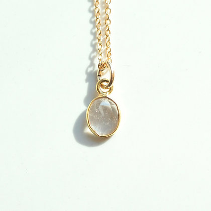 WHITE TOURMALINE ROSE CUT GEMSTONE NECKLACE