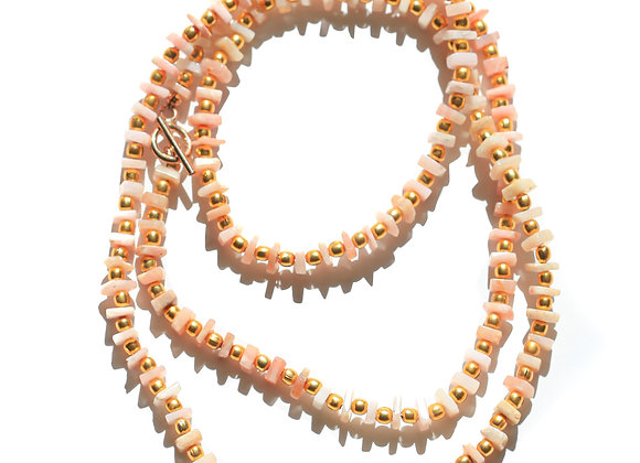 LONG PINK OPAL + GOLD NECKLACE