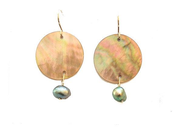 GREEN PEARL + SHELL EARRINGS