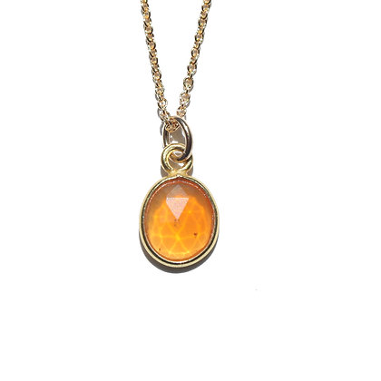 ROSE CUT FIRE OPAL NECKLACE-OCTOBER BIRTHSTONE