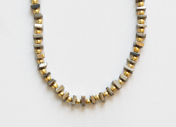 PYRITE + GOLD NECKLACE
