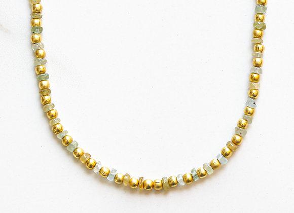 AQUAMARINE  + GOLD NECKLACE