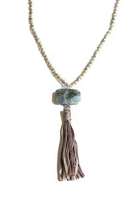 LABRADORITE LEATHER AND STONE NECKLACE