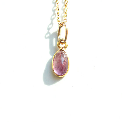 PINK TOURMALINE ROSE CUT GEMSTONE NECKLACE