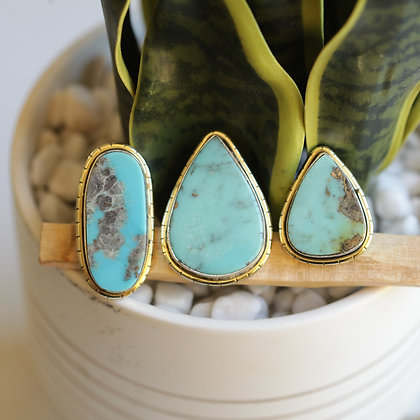 MEXICAN TURQUOISE  LULE RINGS (283)