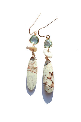 TALL CHRYSOPRASE AND PEARL TIERED GEMSTONE EARRINGS