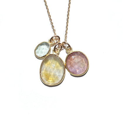 ROSE CUT BIRTHSTONE NECKLACE- 3 STONE