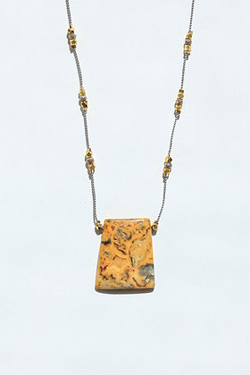 GOLD JASPER  STARS NECKLACE ON GREY