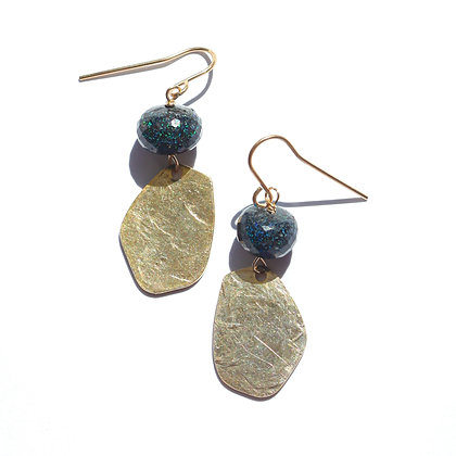 BLACK OPAL AND GOLD EARRINGS