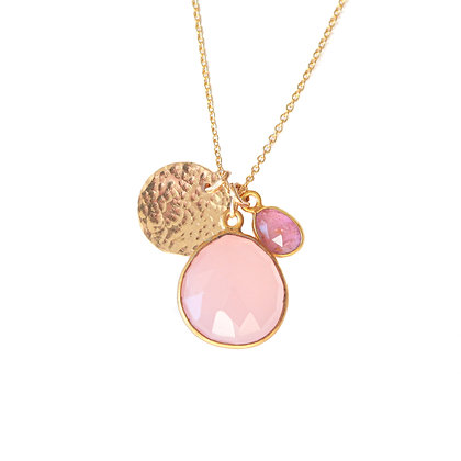 ROSE QUARTZ + PINK SAPPHIRE ROSE CUT CLUSTER NECKLACE