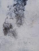 labarbelabarbe 162 X 122 cm - acrylique, fil nylon, feu, poudre à canon et encre sur sintra