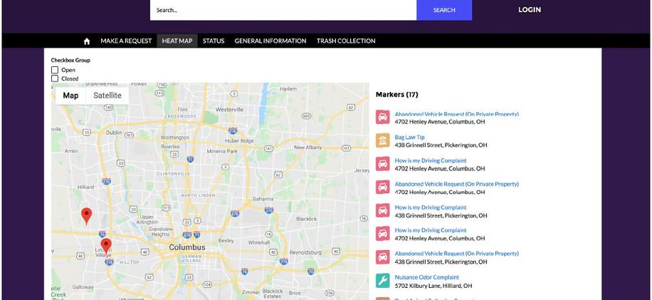 Citizen Request Management Requests Map.