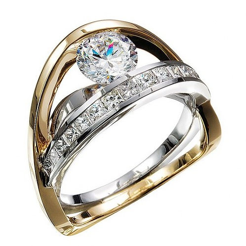 14k Two Tone Classic Engagement Ring
