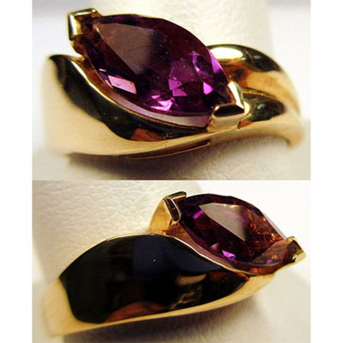 10K Yellow Gold Marquise Amethyst Ring