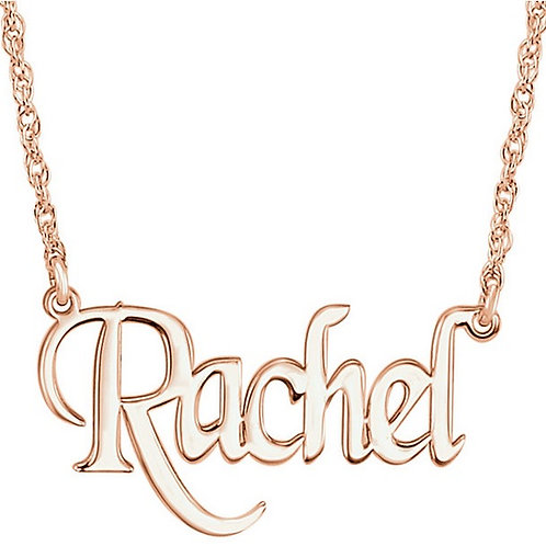 14K Block Nameplate Necklace
