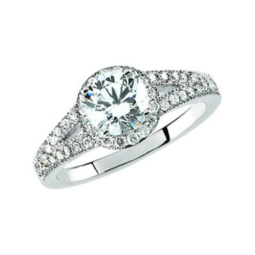 14K White Gold Semi-Mount Engagement Ring | 65644