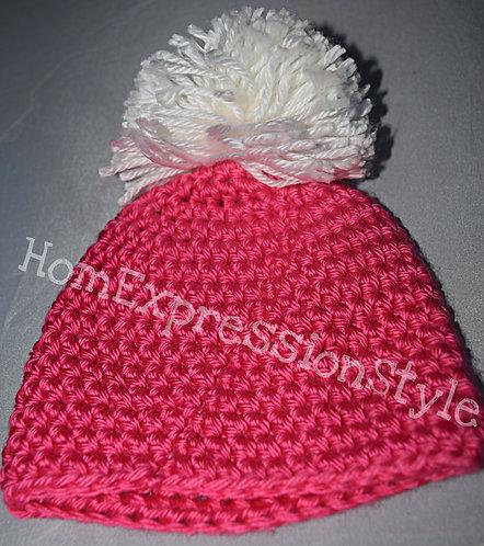 Pink and White Pom-Pom Delight Beanie for Newborns