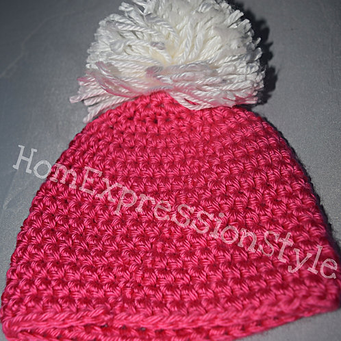 Pink and White Pom-Pom Delight Beanie for Newborns
