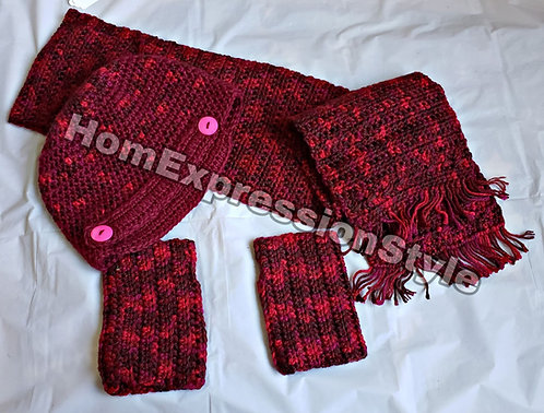 Crochet Hat Scarf and Mittens for an Adult Burgundy Color