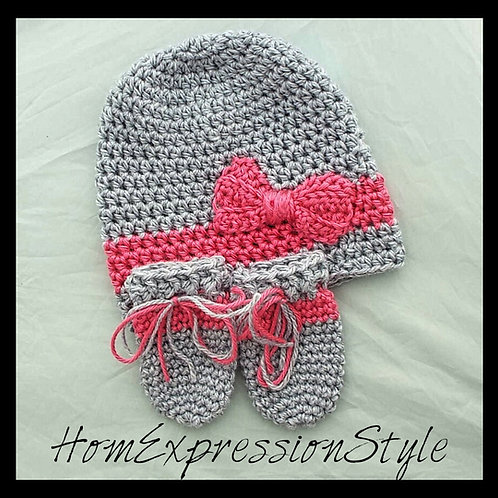 Vibrant Pink and Gray Hat and Mitten Set