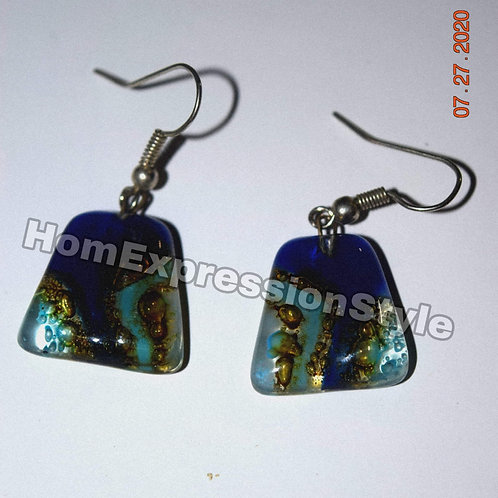 Glass Earrings with Blue