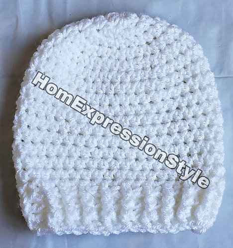 Crochet 0-3 months Old White Beanie