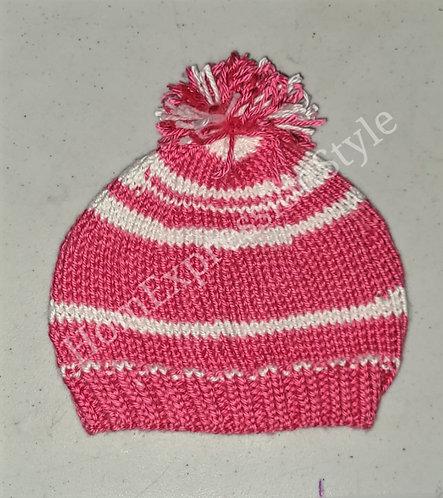 Pink and White Pom-Pom Beanie
